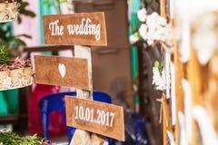 De banners het huwelijk waren mooi decor in het huwelijk Royalty-vrije Stock Foto's