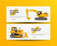 De Banners van bouwmachines voor de Bouw van Bedrijfwebsite Vector illustratie Stock Foto