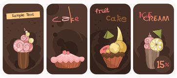 De banners van Cupcake Royalty-vrije Stock Foto's