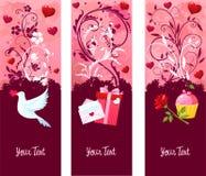 De banners van de Dag van de valentijnskaart Stock Fotografie