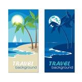 De banners van de de zomervakantie met kust in vlakke ontwerpstijl Stock Afbeeldingen