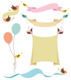 De Banners van de Holding van vogels Stock Fotografie