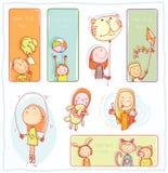 De Banners van de jong geitjepartij en Referenties, vectorillustratie Stock Afbeelding