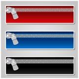 De banners van de kleur met ritssluiting Stock Fotografie