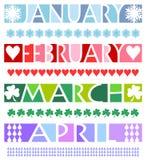 De Banners van de maand en Grenzen/eps Stock Foto