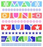 De Banners van de maand en Grenzen/eps Stock Afbeeldingen