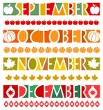 De Banners van de maand en Grenzen/eps Royalty-vrije Stock Afbeeldingen