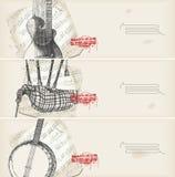 De banners van de muziek - traditionele instrumenten met score Royalty-vrije Stock Foto