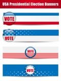 De Banners van de stem. Reeks van vier met Achtergrond Stock Foto's