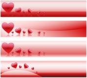 De Banners van de valentijnskaart Stock Foto's