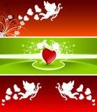 De banners van de valentijnskaart Stock Afbeeldingen