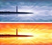 De banners van de vuurtoren Stock Afbeeldingen