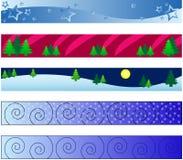 De banners van de winter Stock Foto's