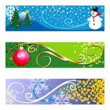 De Banners van de winter op witte achtergrond Stock Fotografie