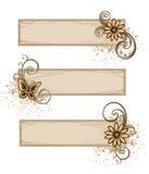 De banners van Grunge met bloemen Stock Foto