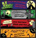 De Banners van Halloween in Verschillende Kleuren Royalty-vrije Stock Fotografie