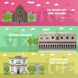 De banners van het de toeristenoriëntatiepunt van Madrid Vectorillustratie met de beroemde gebouwen van Spanje Stock Afbeelding
