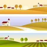 De Banners van het Landschap van het land Stock Foto's