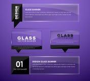 De banners van het ontwerpglas met tekst Stock Foto's