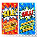 De banners van het verkoopweb Reeks banners van de de kortingsbevordering van de Pop-art grappige verkoop Grote verkoopachtergron stock foto
