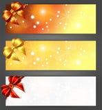 De banners van Kerstmis met linten Royalty-vrije Stock Fotografie