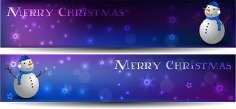 De banners van Kerstmis met sneeuwman Stock Afbeelding