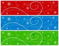 De Banners van Kerstmis met Sneeuwvlokken Stock Fotografie