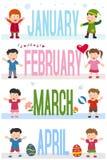 De Banners van maanden met Jonge geitjes [1] stock illustratie