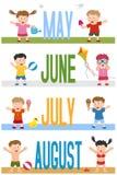 De Banners van maanden met Jonge geitjes [2] Stock Foto