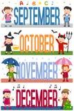 De Banners van maanden met Jonge geitjes [3] vector illustratie