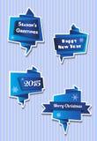 De banners van origamikerstmis in blauw Stock Afbeeldingen