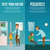 De Banners van pediaterand kid vertical vector illustratie