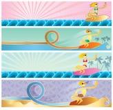 De banners van Surfer Stock Foto