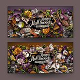 De bannersontwerp van Halloween van beeldverhaal leuk kleurrijk vectorhand getrokken krabbels stock illustratie