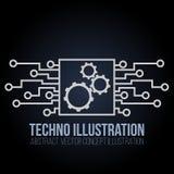 De bannervector van de kringsraad op zwarte achtergrond Toestellen, techniek en van technologie, motherboard en computerontwerp Stock Foto