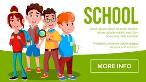 De Bannervector van schooleduacation Meisjes, Jongensstudent Smiling Affiche, Website, Uitnodiging leerlingen Illustratie vector illustratie
