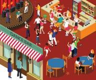 De Bar & het Restaurant Isometrisch Kunstwerkconcept van het dansbier royalty-vrije illustratie