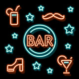 De bar van het neonsymbool Stock Afbeeldingen