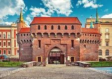 De Barbacane middeleeuwse verdedigingsvesting van Krakau Stock Foto's