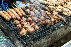 De barbecue geroosterde hete grill van de vleeskebab, goede snack openluchtpicknick Stock Foto's