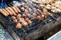 De barbecue geroosterde hete grill van de vleeskebab, goede snack openluchtpicknick Stock Fotografie