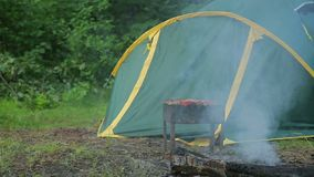 De barbecue met de barbecue die op het worden voorbereid is in het bos op de achtergrond van een groene tent stock videobeelden