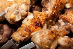 De barbecue, shish kebab van chiken en varkensvlees Royalty-vrije Stock Foto's