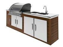 De barbecue van het roestvrij staal met houten lijst stock illustratie