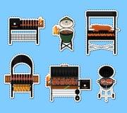 De barbecuegrill met voedsel isoleerde etikettenreeks vector illustratie