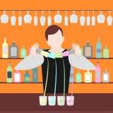 De barman toont Het nachtleven in bar De drank van de mensenmengeling Alcoholische cocktails en flessenpictogramreeks vector illustratie