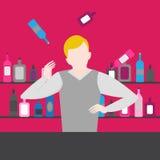 De barman toont Het nachtleven in bar Juggler Man jongleert met Alcoholische cocktails en flessenpictogramreeks royalty-vrije illustratie