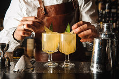 De barman verfraait cocktail geen gezicht Stock Foto's