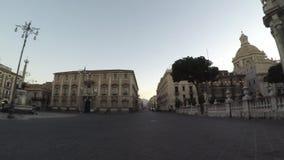 De barokke kathedraal vierkante 4k, ronde mening van Catani? van de basiliek, de historische gebouwen, het olifantsstandbeeld en  stock footage