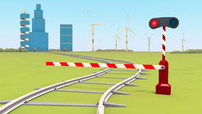 De barrière sluit de spoorweg Stock Afbeelding
